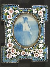 Antique Victorian Micro Mosaic Raised Flowers Picture Photo FRAME Easel Back