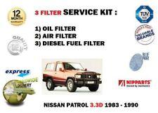 FOR NISSAN PATROL 3.3D 160 260 SD33 1983-1990 OIL AIR FUEL 3 FILTER SERVICE SET