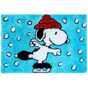 Peanuts Christmas Holiday Snoopy Skating Winter Wonderland Bath Floor Mat Rug