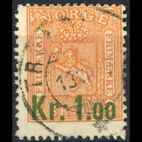 NORWAY. 1905 Surcharge 1k on 2s Buff. SG 122. Fine Used. (AR304)