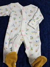Preemie baby girl footie white/tiny circus print/ high quality/pink snaps