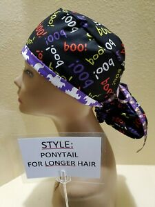 Boo and Ghosts Halloween Women's Ponytail Surgical Scrub Hat/Cap Handmade