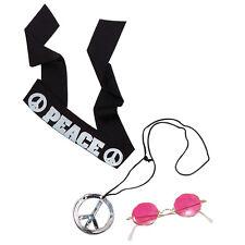 # anni '60 Hippy KIT FASCIA Occhiali MEDAGLIONE Accessorio Vestito