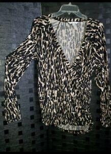 CABI animal Print blouse Top XL