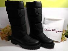 Salvatore Ferragamo Black Ashley Nylon Logo Platform Pull On Boots*****ITALY****