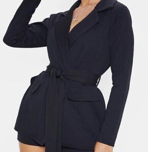 Plt Belted Blazer And Shorts Suit Set - 10