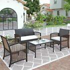 4pcs Outdoor Furniture Rattan Chair&table Patio Set Sofa For Garden Backyard Us