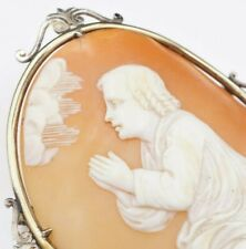 Large 10k Yellow White Gold Carved Shell Cameo Brooch Pin Free Shipping OG205