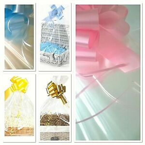 💜LARGE CLEAR HAMPER BAGS & BOWS Cellophane Gift Wrap Mothers Day Baby Weddings