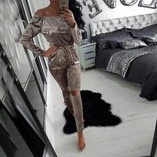 Womens Velour Velvet Crushed Jogging Top Lounge Wear Tracksuit set Loungewear