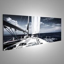 Bild Bilder auf Leinwand Luxus Segelboot im Meer am Abend, extremer Wa FQH-Pano