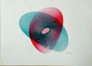 B. DUNAY - ART 1970 ORIGINAL FELT PEN harmonograph visual art lissajous