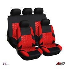 UNIVERSAL CAR SEAT LIGHT COVER SET (9 Pieces) Red Washable & Airbag Compatible
