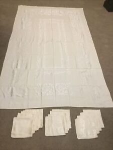 "Linen Ivory Tablecloth 98""x60"" and 12 -17"" x 17""Napkins"