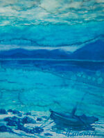 Original ACEO / Seascape Waves Boat / Original Watercolour by Sergej Hahonin