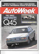 Autoweek Magazine July 1989. Dodge Daytona C/S, Cerv II, Mazda Miata, Mini Baja.