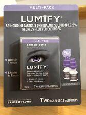 Lumify Redness Reliever Eye Drops .25 fl oz (7.5 mL Bottles) 2 pack *New/Unopen*