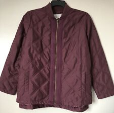 Woman Within Plus Size 14/16 Burgundy Zip Up Thin Quilted Coat Jacket New