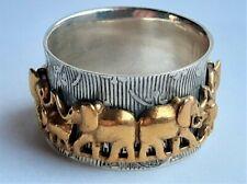 Vintage Mens 925 Sterling Silver Spinner Gilded Elephant Ring, Size V,