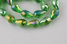 10ps Grass Green AB Glass Crystal Faceted Teardrop Bead 10x15mm Spacer Findings