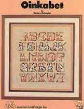 OINKABET-CROSS STITCH CHART-PIG PIGS ALPHABET