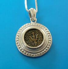 widow mite coin set in elegant silver bezel unisex Christian gift pendant