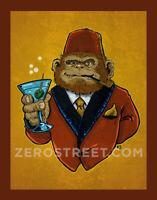 Winston The Chimp Drunk Ape Fez Tiki Bar Art Print  Man Cave Artwork Monkey