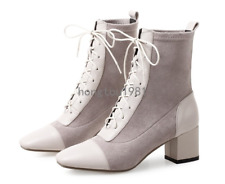 Womens Stretch Ankle Boots Med Block Heels Square Toes Lace Up Leather Shoes Hot