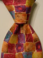 MONDO DI MARCO Men's Silk Necktie ITALY Luxury Geometric Multi-Color EUC Rare