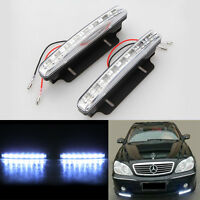 2x Xenon White 8 LED Car Daytime Driving Running DRL Fog Front Head Light Lamp