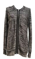 ALEXANDER WANG GRAY FRONT ZIP SWEATER CARDIGAN WITH OPEN BACK, M, $895