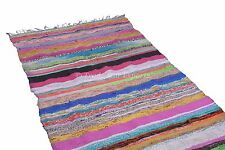 Hand Loomed Rag Rug Chindi Carpet Area Runner 4X6 Vintage Throw Decorative Mat