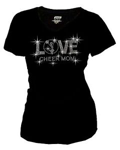 Women Plus Size Love Cheer Mom Shirt Bling Bling Rhinestones T-Shirt, S to 3X