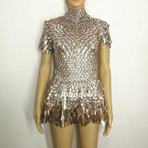 Women's Short Sleeves Sexy Sequins Nightclub Costumes Crystals Bodysuit Sexy