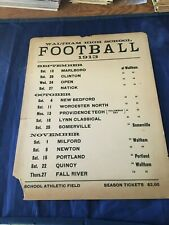 1913 Waltham High School Original Football Schedule Cardboard Poster
