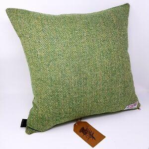 Green Harris Tweed Wool Herringbone genuine handmade Cushion Cover all sizes