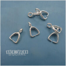 6 Sterling Silver Pendant / Earring Clasp Pinch Bail Connectors ap. 9mm #33369