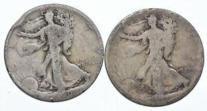 (2) 1920 & 1917 Walking Liberty Half Dollars 90% Silver $1 Face Collection *231