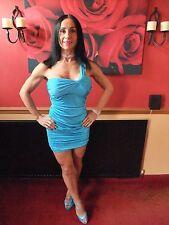 QUIZ SHINY SATIN BLUE RUFFLED STRETCH DRESS ~ UK 10 ~ MATCHING SHOES AVAILABLE