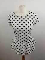 Dorothy Perkins Ivory Spotted Cap Sleeve Scoop Neck Peplum Blouse Size 18