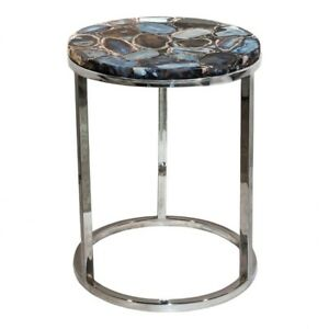 """21"""" T Accent Table Polished Stainless Steel Base One of a Kind Agate Stone Top"""