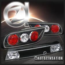Fit 89-94 Nissan 240SX 3Dr Hatchback Black Rear Tail Brake Center Truck Lights