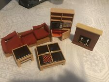 Vintage TOMY Smaller Home Living Room Lot Couch, tables, fireplace, bookshelf, +
