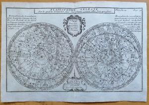 Bion Original Kupferstich Karte Himmelskarte Planisphere Celeste - 1710#