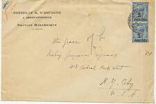 """2135 1923 George V 2 1/2 D w overprint """"3 3/4 PIASTRES"""" (2 x) VF cover CONSULAR"""