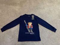 NWT Ralph Lauren Boys Ski Polo Bear Long Sleeve Tee Shirt New Navy Blue Size 6