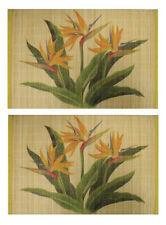 Hawaiian Print Vintage Bird Of Paradise Aloha Bamboo Placemats Set of 2 Hawaii N