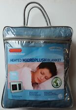 New Heated Microplush Blanket Twin Size Blue Machine Washable 62 x 84 Biddeford