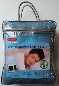 New Heated Microplush Blanket Twin Size Blue Machine Washable 62 x 84 Biddeford