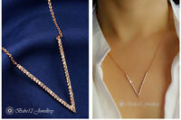 Simulated Diamond V Pendant&Necklace/18K Rose Gold Plated/RGN507